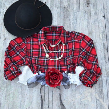 Fall flannel, Christmas red Crop top, Bohemian lace shirt romantic country chic shrug, Street chic tartan plaid, for her True rebel clothing