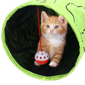 Cat Green Lovely Crinkly Tunnel Toy With Ball Play