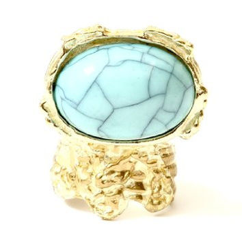 Arty Ornate Turquoise Cabochon Gem Cocktail Ring Size 6 Antique Gold Tone Oval RF25 Fashion Jewelry