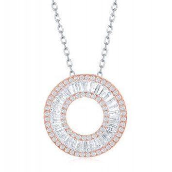 The Flawless Circle Baguette Necklace, Rose Gold and CZ