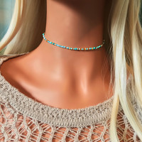 Turquoise Choker Necklace - Beach Choker - Boho Choker Necklace - Bohemian Necklace - Beach Jewelry