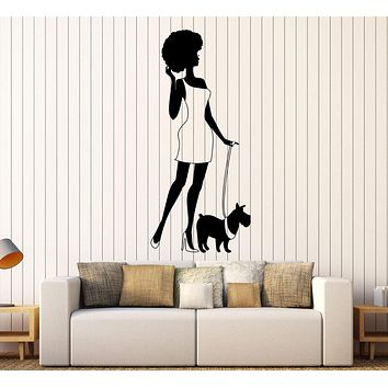 Vinyl Wall Decal Afro Lady Woman Style Fashion Dog Stickers Unique Gift (417ig)