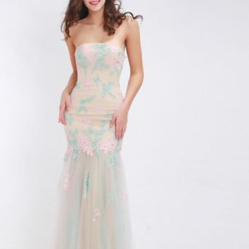 Prom Dresses Long Flower Girl Appliques with Stone Strapless Sexy Tulle Floor Length Special Occasion Gowns