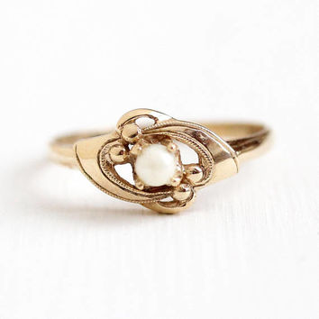 Cultured Pearl Ring - Vintage 10k Rosy Yellow Gold White Gemstone - Retro Size 7 1/4 June Birthstone Milgrain Dainty Fine Jewelry Signed R&S