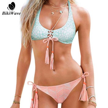 Women Bikini 2016 Summer Sexy Ladies Swimwear Swimsuit Pink Tassels Lace Strappy Bikini Push Up Bathing Suits