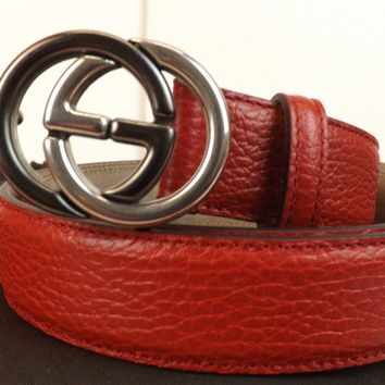 NWT GUCCI RED TEXTURED LEATHER INTERLOCKING 2 TONE GG BUCKLE 295704 BELT 100 40
