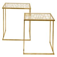 Three Hands Square Glass Top Side Tables (Set of 2) - Gold