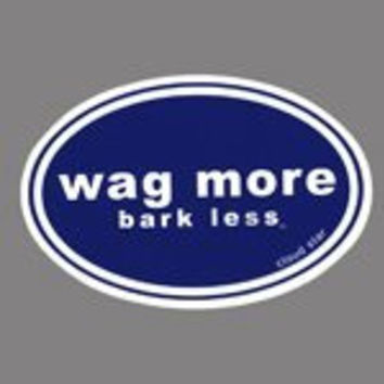 Wag More Bark Less Auto Car Bumper STICKER - Dark blue background with White Font