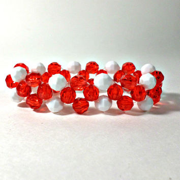 "7"" Red And White Bangle Bracelet 