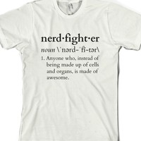 Nerdfighter?-Unisex White T-Shirt