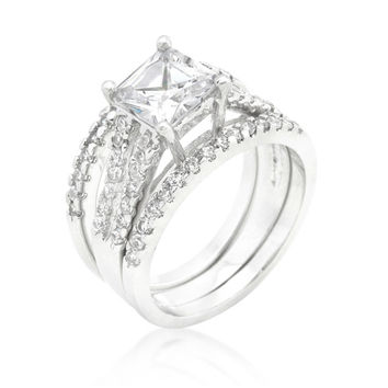 Hana Princess Cut Engagement and Wedding Three Ring Set | 4ct | Cubic Zirconia | Silver