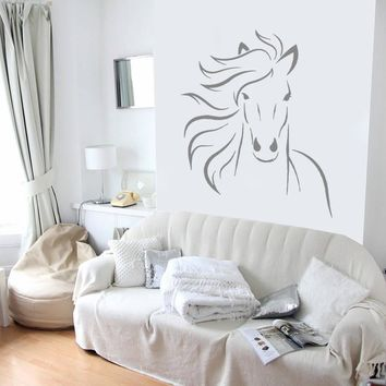 ik699 Wall Decal Sticker head horse nag pet stallion thoroughbred horse bedroom