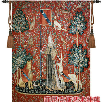 Belgium medieval tapestry wall hanging home textile decoration unicorn series-sense of touch big 140cm X 107cm cotton can custom