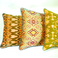 "Set of 3 18"" Balinese ikat pillow covers: ""hummingbird,"" ""turtle,"" and ""parakeet"""