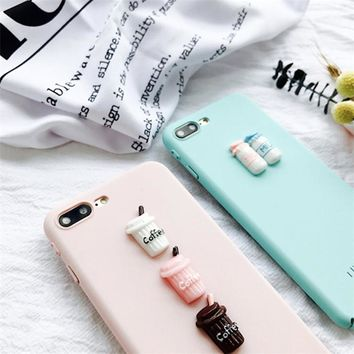 3D Coffee Pink Milk Bottle Case for Iphone 7 Case Fresh Cartoon Hard Pc Case for Apple Iphone 6 6s 6plus Scrub Back Cover Case -0402