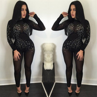 Sexy Turtleneck Bodysuit Women Long Sleeve Stretchy Mesh Rompers Womens Jumpsuits Party Club Zipper Up Body Glittering Overalls
