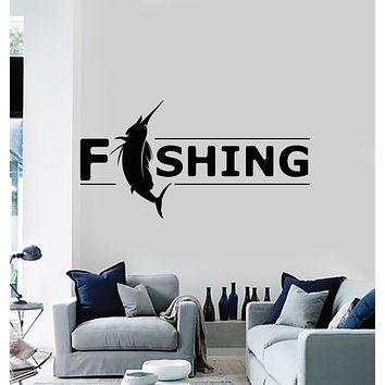Vinyl Wall Decal Fishing Hobby Decor For Fisher Catching Fish Store Stickers Mural (g2590)