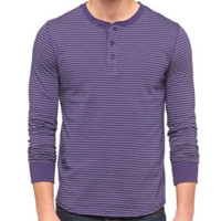 Men's Long Sleeve Henley Shirt - Mossimo Supply Co. - Cement (Purple w/ White Stripes)