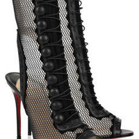 Christian Louboutin attention 100 cutout mesh and leather boots - $300.00