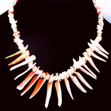 Branch Coral Necklace Single Strand Pink Red Coral Shells Barrel e699295bd17a