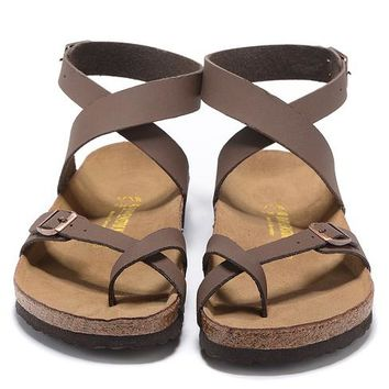 915ba63ba469 Birkenstock Leather Cork Flats Shoes Women Men Lover Casual Sand