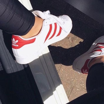 """Adidas"" Fashion Shell-toe Flats Sneakers Sport Shoes White red line"