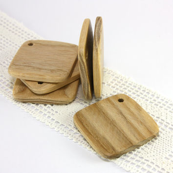 Large rustic wood tags - 1.7 in (43mm) - Set of 6 natural ash wood gift tags - Handmade craft supplie (A0371)