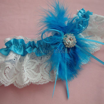 Garter, Turquoise feather garter with rhinstone