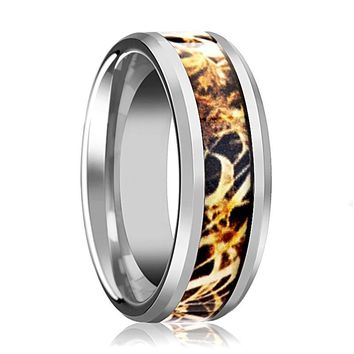 Camo Wedding Band - Silver Tungsten - Leaves Grassland - Tungsten Wedding Band - Beveled - Polished Finish - 8mm - Tungsten Wedding Ring