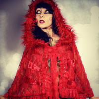 Red Lace Hood Cape, Romantic Gypsy shawl, Gothic capelet, Fantasy Dark Victorian Fairytale Cosplay Shrug Witchy