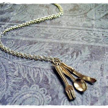 Silver Silverware Necklace - Fork, Spoon, and Knife Charms on a Delicate 18 Inch Silver Plated Cable Chain
