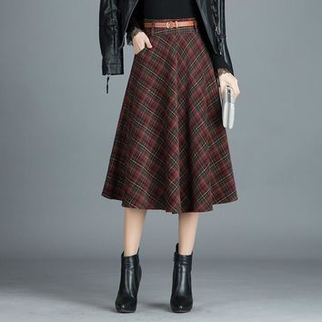 England Style Red Plaid Long Skirts Woolen Saias Plus Size 4XL A Line Pleated Winter Women Skirts Ropa Mujer Vintage Roupas