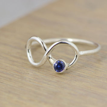 Labor Day Sale Infinity Birthstone Ring - Promise Ring - Friendship Ring - Blue CZ - Infinity Jewelry - September Birthstone Jewelry -