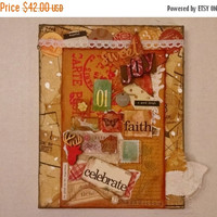 CYBER MONDAY SALE Altered Book Cover, Canvas Collage, Holiday Decor, Mixed Media Collage, Altered Art, Stacked Canvas, Sweet Joy, Embossed C