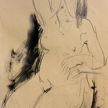 Modern artistic Original charcoal sketch Graphic art Drawing Nude woman Figurative Fine artwork Naked Female model Figure Contemporary art