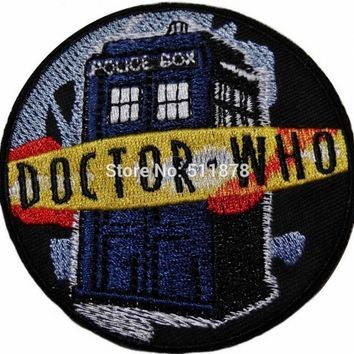 """3"""" Doctor Who DR TARDIS POLICE BOX Logo TV MOVIE Series Costume Embroidered Emblem punk applique iron on patch"""