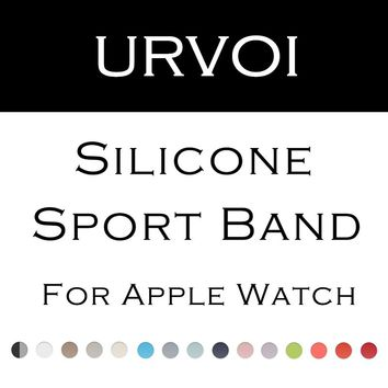 URVOI silicone band for apple watch series 1 2 with silicone strap for iWatch sport band official colors