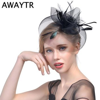 9962ccd7466d3 Veil Hat Clips AWAYTR New Elegant Women Feather Hat Hairpins Fascinator Hat  with Flower Hair Accessories