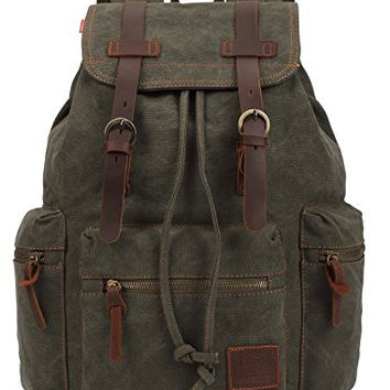 KINGLAKE Vintage Unisex Canvas Leather Backpack Rucksack Satchel Hiking Bag Bookbag