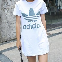 Adidas Summer Popular Women Casual Print Short Sleeve Dress White