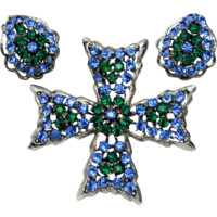 WEISS Maltese CrossSapphire Emerald Rhinestone Brooch Earring SET