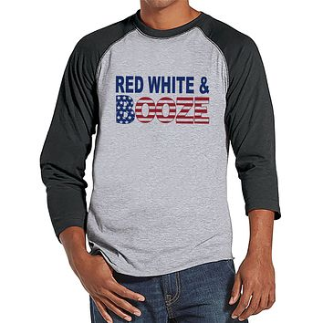 Red, White & Booze Shirt - Funny Men's 4th of July Shirt - Grey Raglan - American Flag 4th of July Party Shirt - Patriotic Drinking Shirt