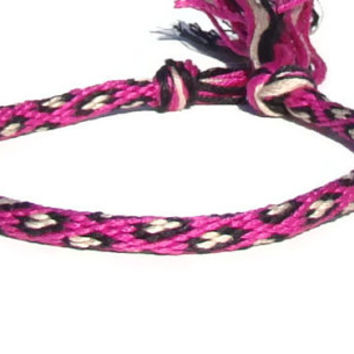Magenta leopard print friendship kumihimo bracelet with or without purchased magnetic clasp-- your choice