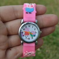 2016 New 3D Cartoon Lovely Kids Girls Boys Children Students Anime Pepa Pig Watch Fashion Casual Beautiful Quartz Wrist Watch(the pattern of the case is randomly)