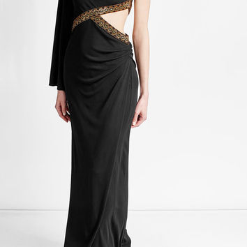 Embellished Silk Blend Gown - Roberto Cavalli | WOMEN | US STYLEBOP.COM