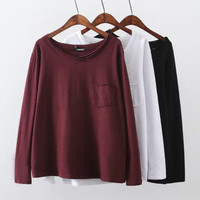 Cotton Pocket Long Sleeve Loose Shirts