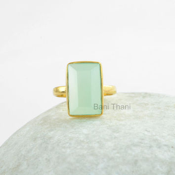 Silver Chalcedony Ring, Aqua Chalcedony Ring, Gold Plated Silver Ring, 925 Sterling Silver Ring Jewelry, Rectangle 9x15mm Gemstone #12225