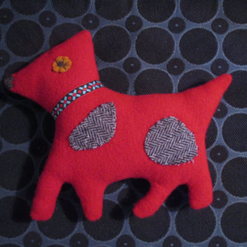 Red Dog Stuffed Animal Plushie Soft Toy childrens stuffie baby gift waldorf toy red puppy folk art doll upcycled wool repurposed sweater