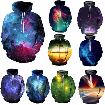 Space Galaxy 3d Sweatshirts Men/Women Hoodies With Hat Print Stars Nebula Spring Autumn Winter Loose Thin Hooded Hoody Tops