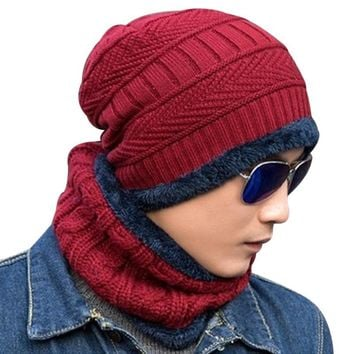 Fashion Unisex Knitted Hat Beanies Knit Men Warm Winter Sets Hat + Scarf Collar Caps Women Skullies Bonnet Beanie Casual Baggy
